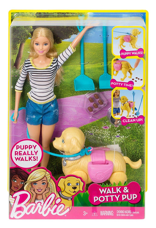 Барби прогулка с собакой блондинка DWJ68