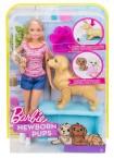 Кукла Барби блондинка и новорожденные щенки Barbie Newborn Pups