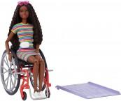 Кукла барби шарнирная темнокожая на инвалидной коляске Barbie Fashionistas 166 Wheelchair